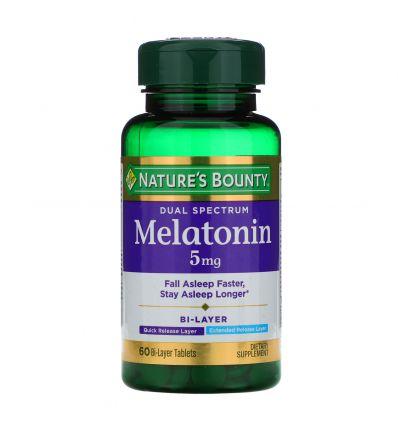 Nature's Bounty Dual Spectrum Melatonin 5 mg, 60 Bi-layer tablets
